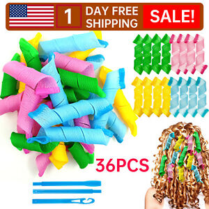 36Pcs Magic Short Hair Curlers Curl Formers Leverage Rollers Spiral Ringlets-B-9