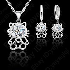 Pretty Wedding Gift Cat Zircon Cute Kitty Neckalce Earring Sets For woman Girls