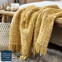 Luxury Soft Woven Knitted Thick Ochre Yellow Mustard Sofa Blanket Throw Fringed