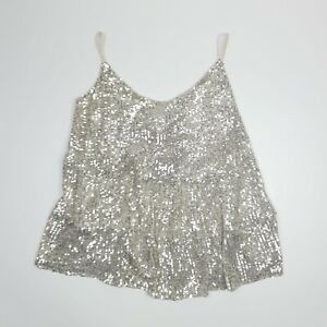 Dorothy Perkins Sparkly Gold Top Vest Silver Sequins UK 14 Holiday Party BNWT