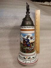 "German Military Regimental Pewter Lid Lithophane Beer Stein 1906-09 12 3/4"" Tall"