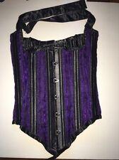 Ms Antoinette Corset Black And Purple Satin  22W