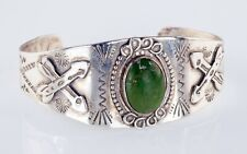 Vintage Navajo Green Turquoise Sterling Silver Cuff Bracelet