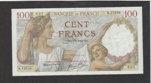 100 FRANCS VERY FINE BANKNOTE FROM FRANCE 1940 PICK-94