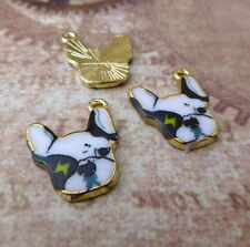 Pack of 5 French Bulldog Charms Animal Pendant Dog charms Enamelled charm