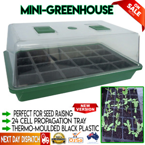 Portable Mini Greenhouse Outdoor Gardening Plant Green House 24 Cell Seed Tray