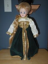 "Porcelain 16"" Doll Blonde Hair Braid Blue Eyes Green Irish Celtic Dress Unmarked"