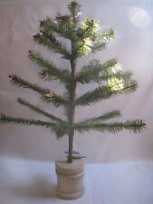 "Bethany Lowe Goose Feather Tree Green Red Berry Wood Bucket Base 21"" New Xmas"