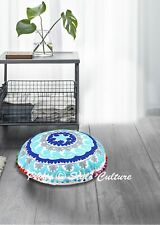Indian Round Floor Pillow Cover Embroidered Suzani Bohemian Cotton 18x18 Seating