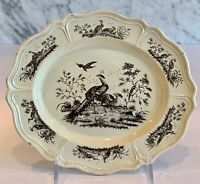Early Wedgwood Creamware Liverpool Birds Oval Plate 1760-1790