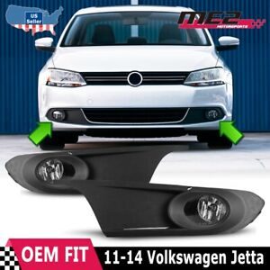 For VW Jetta 11-14 Bumper Driving Fog lights Lamps + Wiring Switch Kit Clear