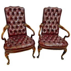 Hickory Furniture Gooseneck Arm Chairs Tufted Leather seat Burgundy set of two