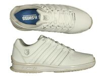 MENS NEW TRAINERS K.SWISS RINZLER SP ALL WHITE LACE UP LEATHER TRAINERS 6 - 12
