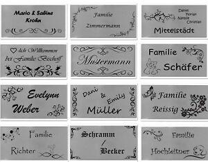 ID Türschild mit Ornament und Gravur nach Wunsch Namensschild Edelstahl 5 Größen