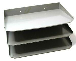 Vintage MCM Metal Industrial Desktop File Organizer 3 Tier Bay Tray Grey