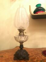 Antique German Metal Kerosene Oil Lamp Antique Glass Shade