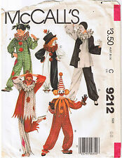 Boy Girl Childrens Clown Mime Jester Simplicity Costume Sewing Pattern Sz 6 8