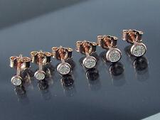 3 Paar Ohrstecker mit Zirkonia 925 Silber Rotgold Rosegold Vergoldet 2,5+3+3,5mm