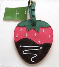 kate spade creme de la creme luggage tag-strawberry pink green brown-unique