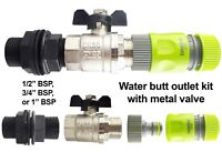 """water butt outlet kit with valve + click-lock connector,1/2"""",3/4"""" & 1"""" bsp"""