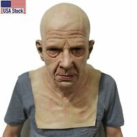 Cosplay Bald Old Man Creepy Wrinkle Face Mask Halloween Party Realistic Props US