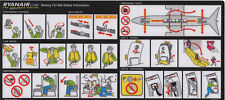 Safety Card / Ryanair / Boeing 737-800 / ca.2004 Adh. (RA815 REV.0 INT928) Black