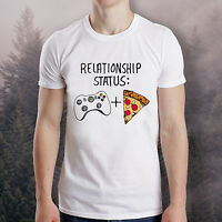 Relationship Status Xbox + Pizza Funny T-shirt Single Player Game Geek Tee