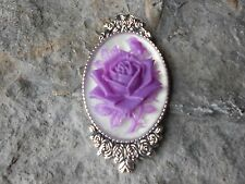 GORGEOUS ROSE CAMEO BROOCH- PIN- (LILAC, PURPLE) -- STUNNING, FLORAL, ROSE BUD