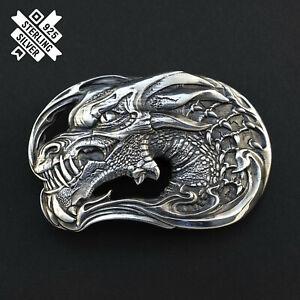Belt buckle Jormungands Head, Serpent solid 925 Sterling Silver belt buckle