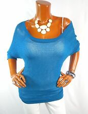EXPRESS Womens Top L Blue Mesh Tunic Shirt Off 1 Shoulder Short Sleeve Blouse