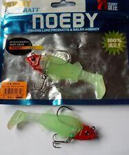Noeby pêche leurre souple plombé odorant 9,5cm 20g X2 Tête rouge corps phospho