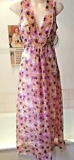 vintage Nylon floral night-dress full length tie waist lined ~ UK 14