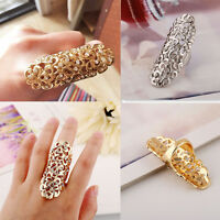 Punk Gothic Charm Rhinestone Full Finger Armor Joint Knuckle Hollow Out Ring Hot