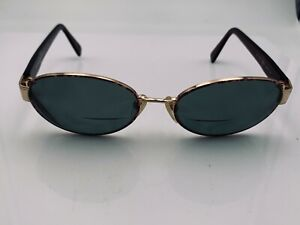 Vintage Sergio Tacchini ST1072-S Brown Gold Metal Oval Sunglasses FRAMES ONLY