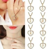 26 Letters Long Sweater Zircon Chain Pendant Necklace Heart Love Top M1W0