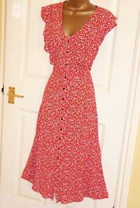 Red white black floral vintage repro 40s 50s party tea day dress size 12