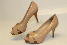 Via Spiga Womens Size 6 M Nude Patent Leather Peep Toe Stiletto Slip On Pumps