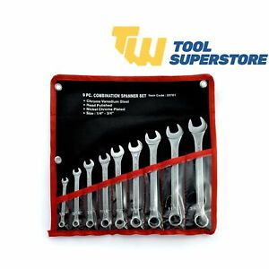 9 Piece Combination Ring Spanner AF/SAE Wrench Tool Roll Kit Professional Set
