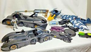 Batman Bundle 89-1992 Batmobiles, Batman Figurine, Bat Signal, Bat Wings, As Is