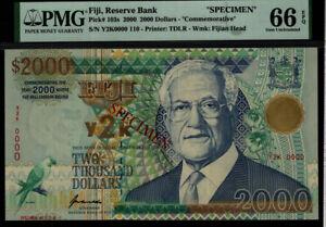 TT PK 103s 2000 FIJI 2000 DOLLARS AMAZING OVERSIZE SPECIMEN PMG 66 EPQ GEM UNC.