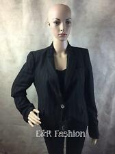 ZARA BLACK STRIPED BLAZER WITH RED STITCH DETAIL SIZE UK 12 (B3) REF: 2319 867