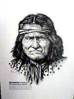 LIMITED EDITION INDIAN CHIEFS PORTRAITS Set 4 Pen & Ink ORIGINAL ARTWORK PRINTS