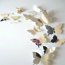 12pcs 3D Mirrors Butterfly Wall Stickers Decal Wall Art Room Party Wedding Decor