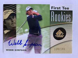 Webb Simpson 2012 SP Game Used First Tee Rookies Autograph AUTO #128/199 NM/M