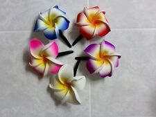 Pk of 5 Beautiful Frangipani hair clips - Various Colours XL approx 7cm Flower