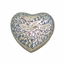 Flying Birds Blue and White Heart Urn Keepsake for Ashes Cremation Cremains