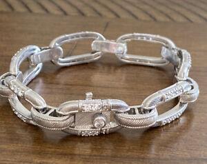 "Judith Ripka Link 925 Sterling Silver CZ Bracelet 7.25"""
