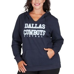 Dallas Cowboys Majestic Women's Plus Size Glitter Pullover Hoodie - Navy NFL 4X