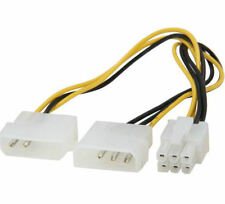 Kingwin PCI-03 8inch Dual 4Pin Molex(M) to 6Pin (F) PC-E Extension Power Cable