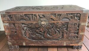 ANTIQUE CHINESE WOODEN CARVED CHEST ~ CAMPHOR BLANKET BOX ~ DRAGON ~ ORIENTAL